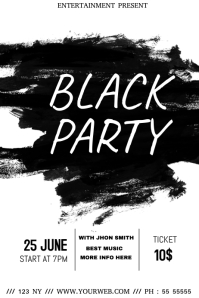 Black and white party event flyer template