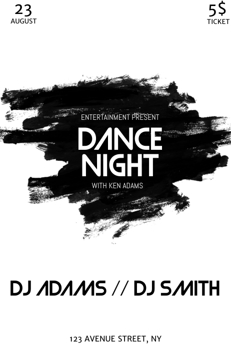 Black and white party night flyer template