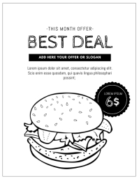Black and white printable burger offer flyer template