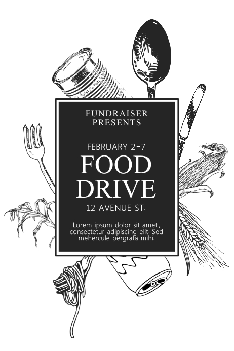 Black And White Printable Food Drive Flyer Template PosterMyWall