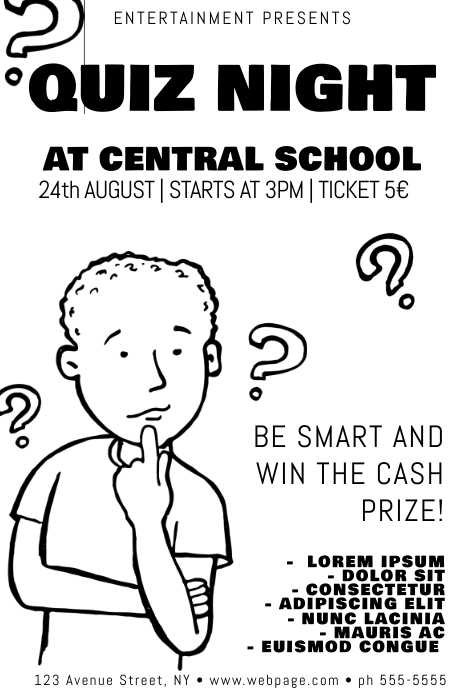 Black and White Quiz Night School Poster template