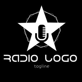 Black and white Radio or podcast logo Logotipo template