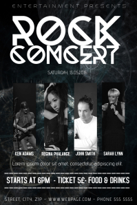 black and white rock band concert template with four picture