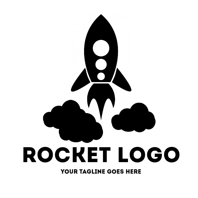 Black and white rocket logo