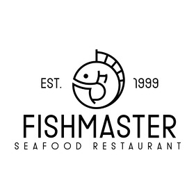 black and white sea food restaurant logo