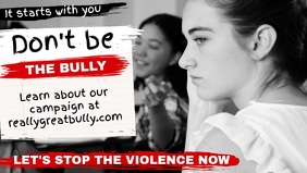 Black and White Stop Bullying Facebook Cover Video Template