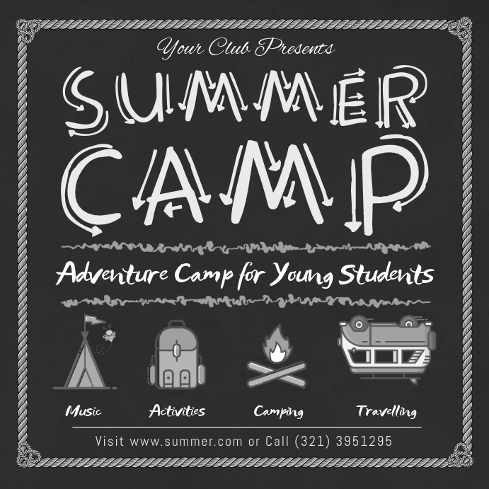 Black and White Summer Camp Instagram Ad