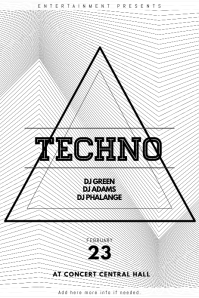 Black and white Techno Party Flyer Template