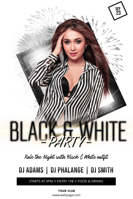 Black and White Theme Party Flyer Template