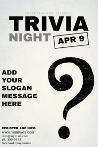 Black and White Trivia Night Flyer Template Poster