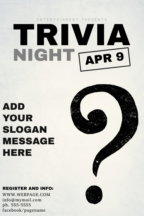 black and white trivia night flyer template postermywall