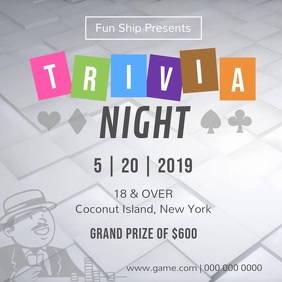 Black and White Trivia Night Square Video template