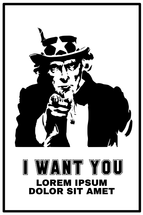 Black and White Uncle Sam Poster Template
