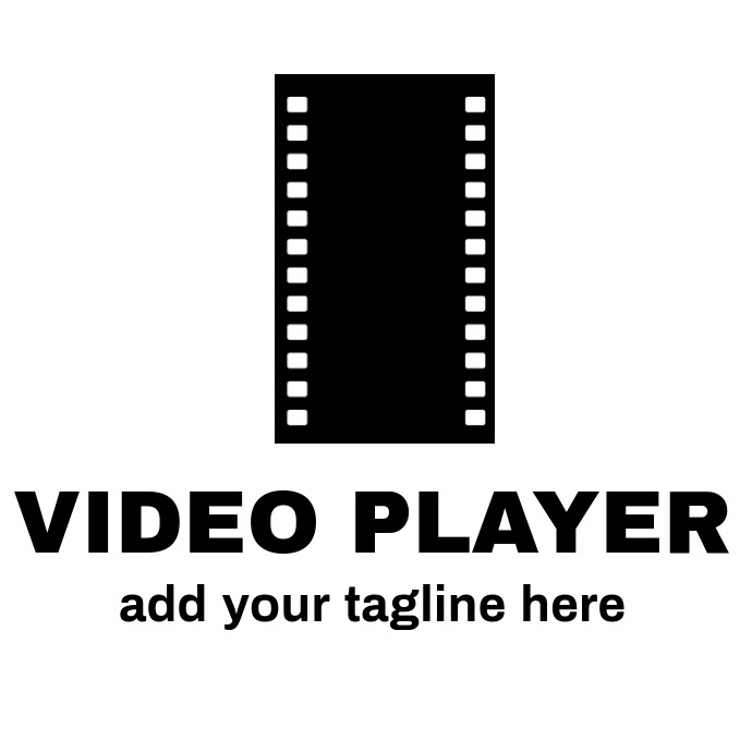 black and white Video player logo or app icon