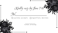 Black and White Wedding RSVP Business Card template