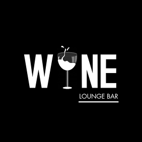 black and white wine bar logo template 徽标