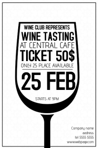 black and white wine tasting poster template