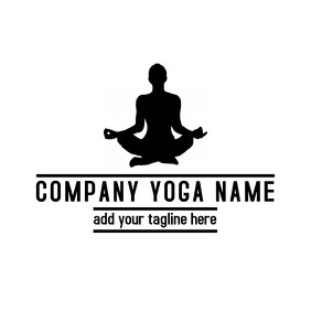 Black and white yoga gym fitness logo