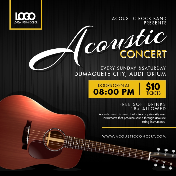 Black and Yellow Acoustic Concert Instagram A template