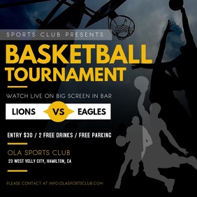 Black and Yellow Basketball Tournament Video Square (1:1) template