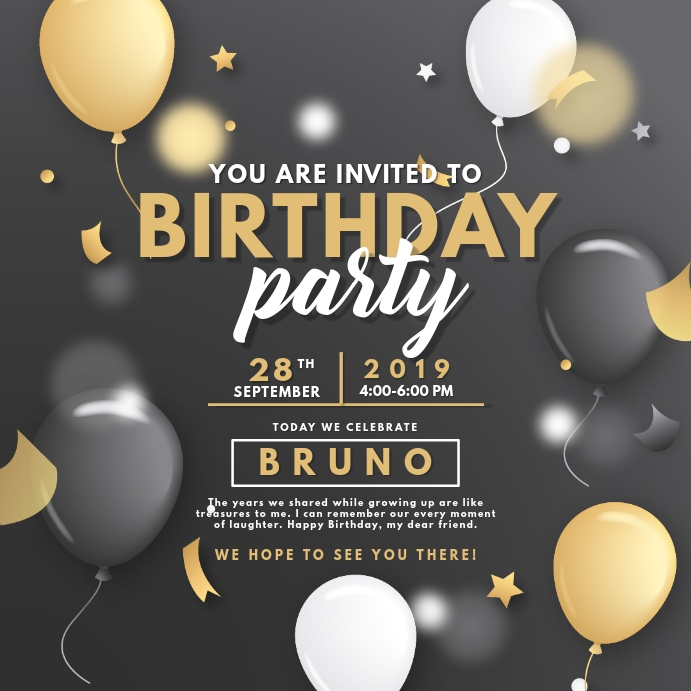 Black and Yellow Birthday Party Invite Instagram Plasing template