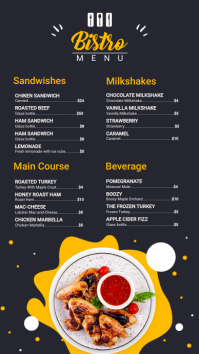 Black and Yellow Bistro Menu Design Digitalanzeige (9:16) template