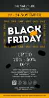 Black and Yellow Black Friday Rollup Banner Cartel enrollable de 3 × 6 pulg. template