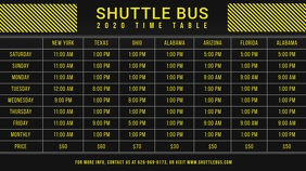Black and Yellow Bus Schedule Table Digital D template
