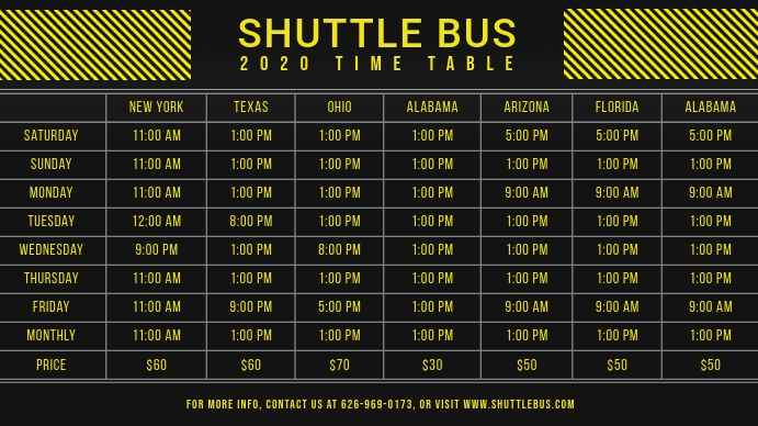 Black and Yellow Bus Schedule Table Digital D Digitalt display (16:9) template
