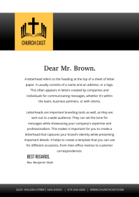 Black and Yellow Church Letterhead