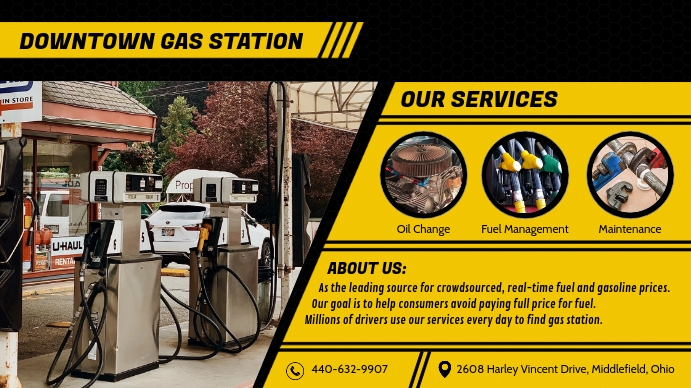Black and Yellow Gas Station Display Ad