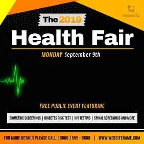 Black and Yellow Health Fair Square Video