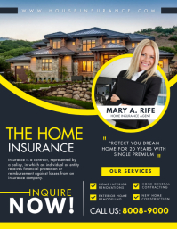 Black and Yellow Home Insurance Flyer Templat Рекламная листовка (US Letter) template