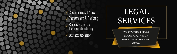 Black and Yellow Legal Services LinkedIn Care Isithombe Sekhava Yenkambo ye-LinkedIn template