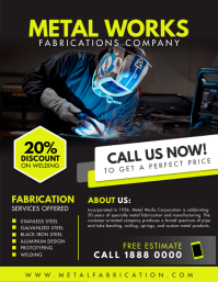 Black and Yellow Metal Work Service Flyer Tem Pamflet (Letter AS) template