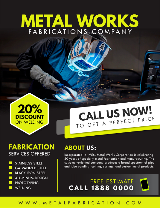 Black and Yellow Metal Work Service Flyer Tem Folder (US Letter) template