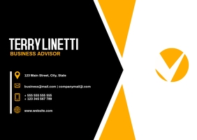 black and yellow modern business card templat Pocztówka template