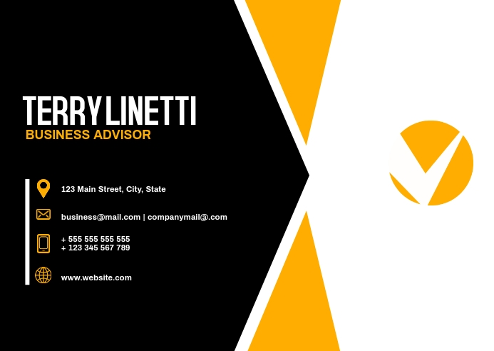 black and yellow modern business card templat Postkort template
