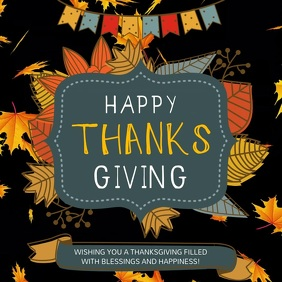 Black and Yellow Thanksgiving Wish Square Vid โพสต์บน Instagram template