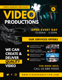 Black and Yellow Video Production Agency Flye ใบปลิว (US Letter) template