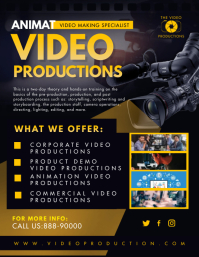 Black and Yellow Video Production Service Fly Folder (US Letter) template