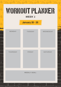 Black and Yellow Weekly Workout Planner