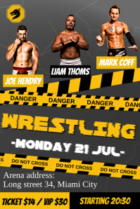 Black and Yellow Wrestling Poster