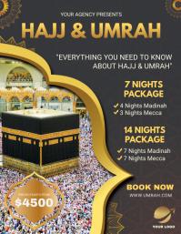 Black Background Hajj Travel Package Flyer