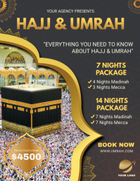 Black Background Hajj Travel Package Flyer template
