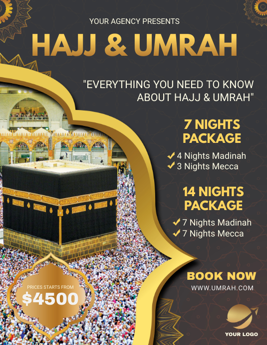 Black Background Hajj Travel Package Flyer