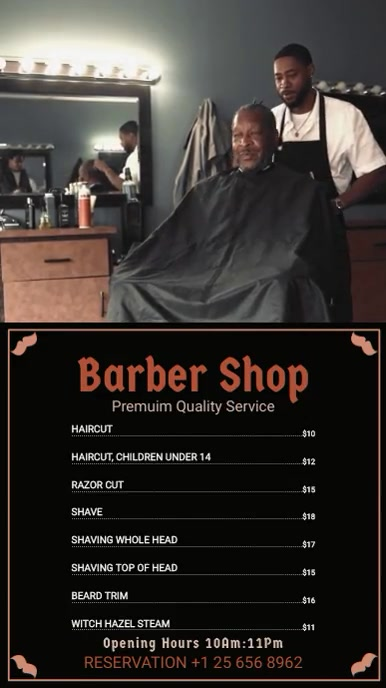 Kopya ng Black Barber Shop Menu Board