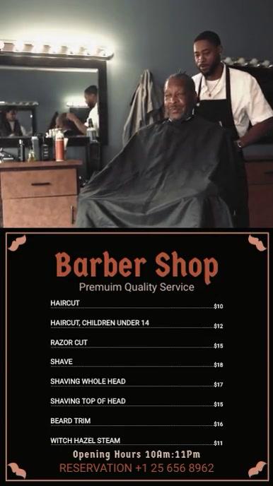 Black Barber Shop Menu Board Цифровой дисплей (9 : 16) template