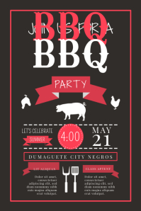 Black BBQ Typography Poster