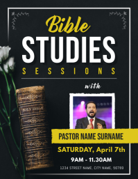 Black Bible Study Sessions Church Flyer
